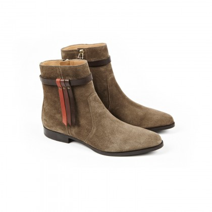 RANCH Taupe Velours Cuir P